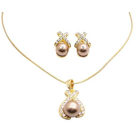 Bronze Pearl Pendant Necklace Set Gold Plated Jewelry Set