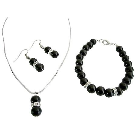 Looking Black Jewelry Pageant Bridesmaid Pearls Jewelry Set