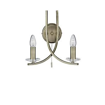 Ascona Antique Brass And Glass Wall Light - Searchlight 4162-2AB