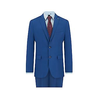 Lambretta Mens Blue 3 Piece Suit Slim Fit Notch Lapel Pindot Detail