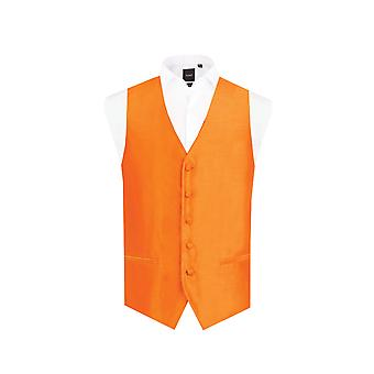 Dobell Boys Orange Dupion Waistcoat Regular Fit