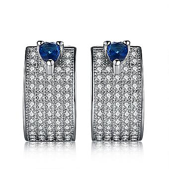925 Sterling Silver Pave Blue Thick Hoop Earrings