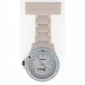 Boxx Pure White Rotating Bezel Nurses Fob Watch F043