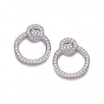 Cavendish French Silver and Cubic Zirconia Linked Circle Earrings