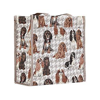 Cavalier king charles spaniel shopper bag by signare tapestry / shop-kgcs