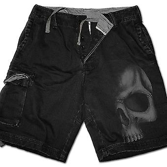 Spiral Direct Gothic SHADOW SKULL (GREY) - Vintage Cargo Shorts Black|Skulls|Death|Horror