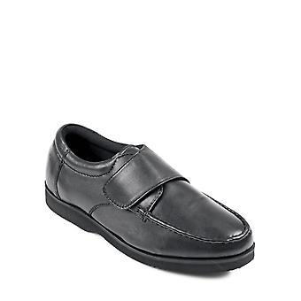 Mens Wide Fit Touch Fasten Leather Shoe