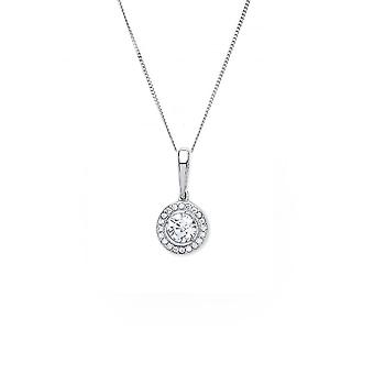 Eternity 9ct White Gold Cubic Zirconia Halo Pendant And 18'' Chain
