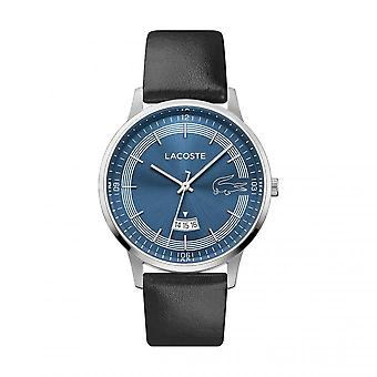 Lacoste Watch 2011034 - Round Steel Case Blue Black Leather Strap