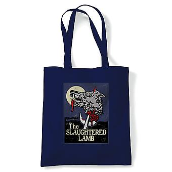 The Slaughtered Lamb American Werewolf Movie Tote | Reusable Shopping Cotton Canvas Long Handled Natural Shopper Eco-Friendly Fashion