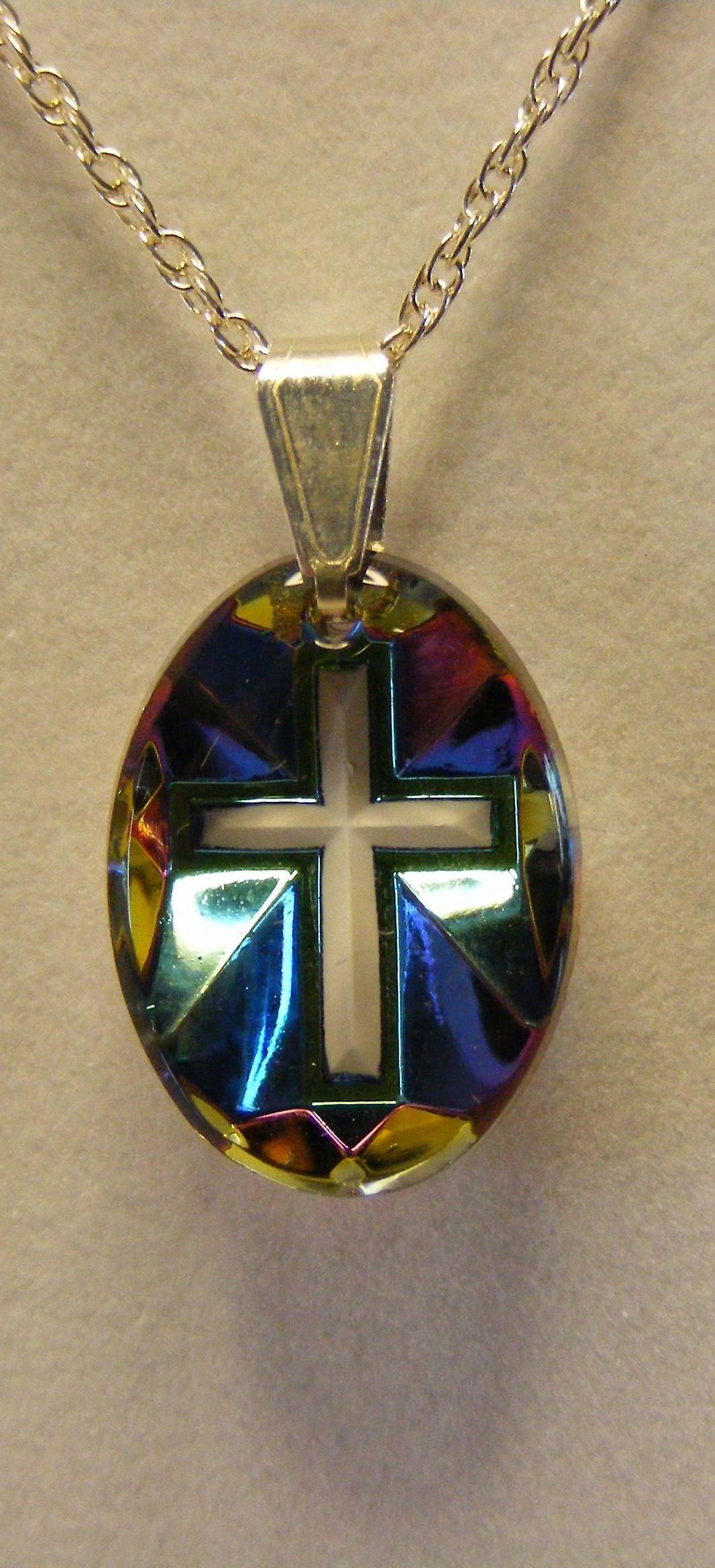 Aurora Borealis Cross Crystal Pendant