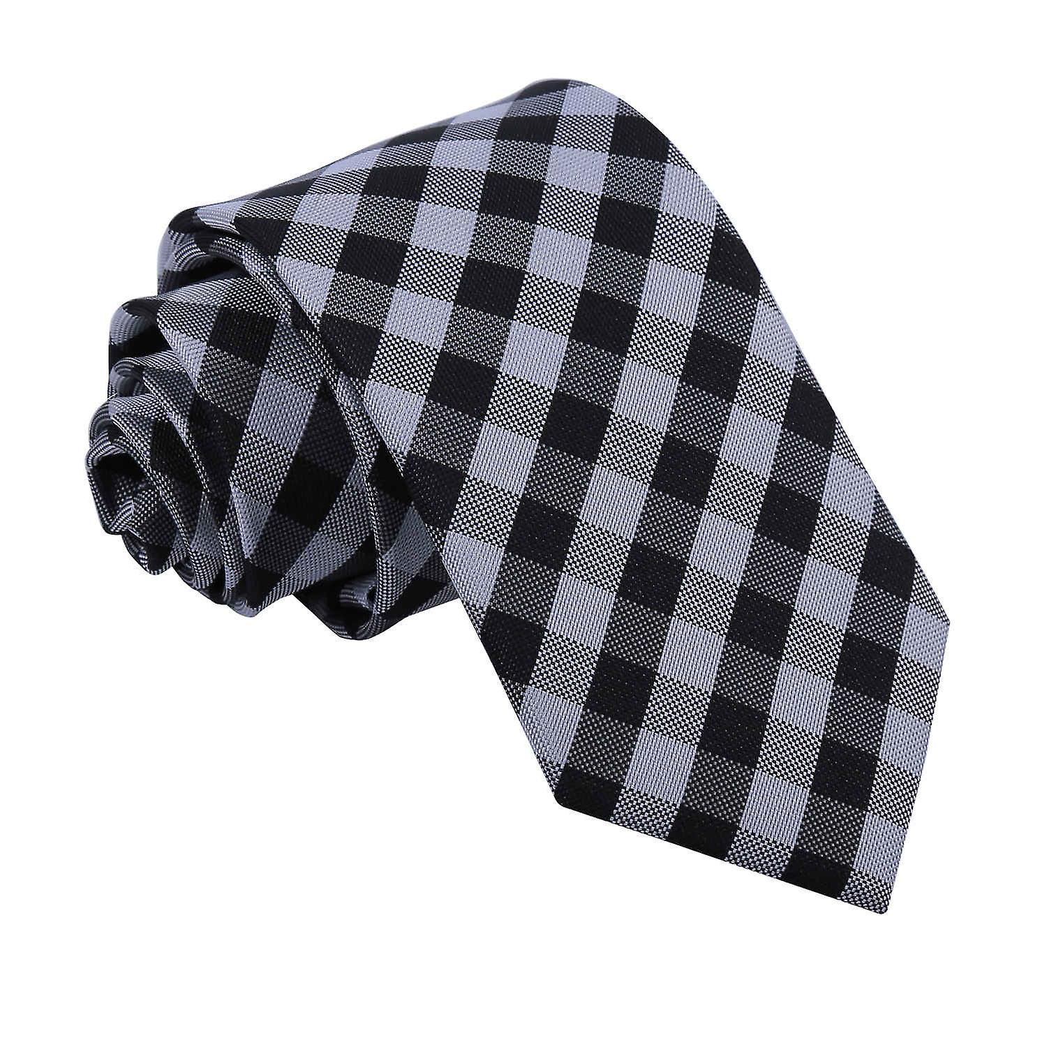 Gingham Check Black Slim Tie