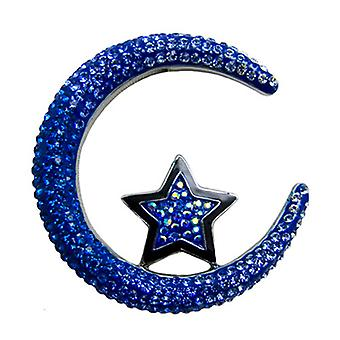 Butler and Wilson Crescent Moon and Star Crystal Brooch Blue