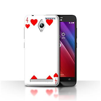 STUFF4 Case/Cover for Asus Zenfone Go ZC500TG/4 of Hearts/Playing Cards