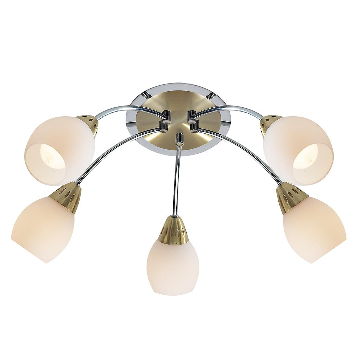 Dar TEM0541 Tempo 5 Light Flush Round Polished Chrome And Satin Brass