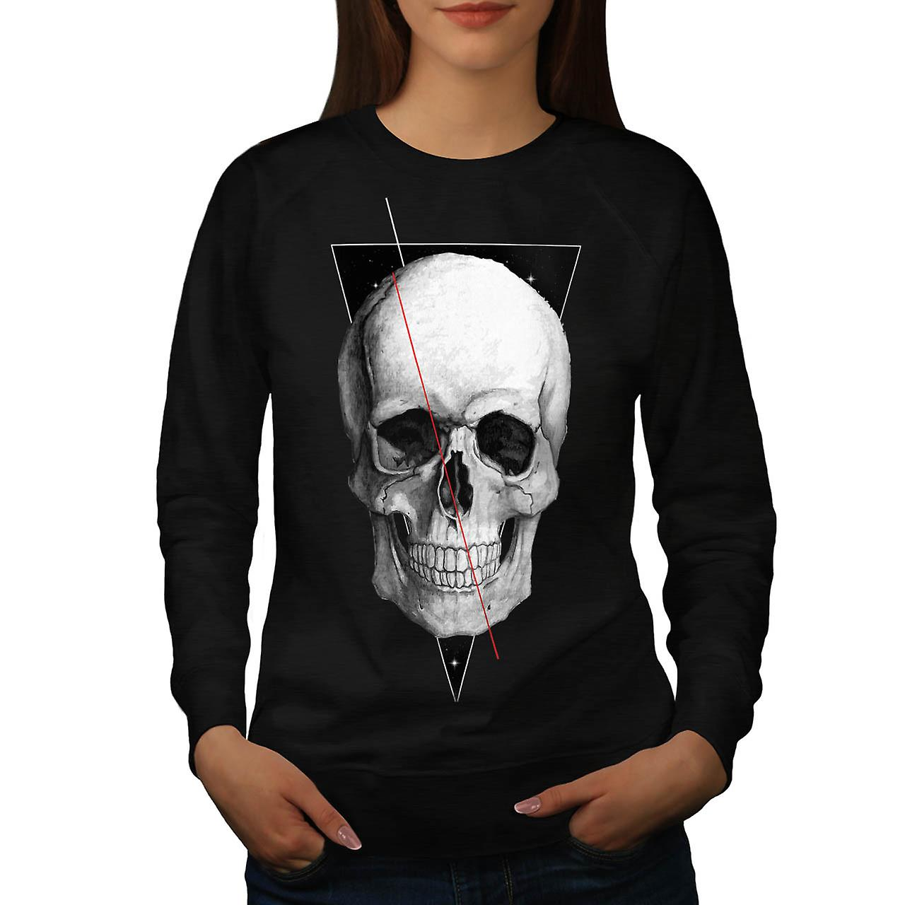 Skull Zombie Indian Festival Head Women Black Sweatshirt | Wellcoda