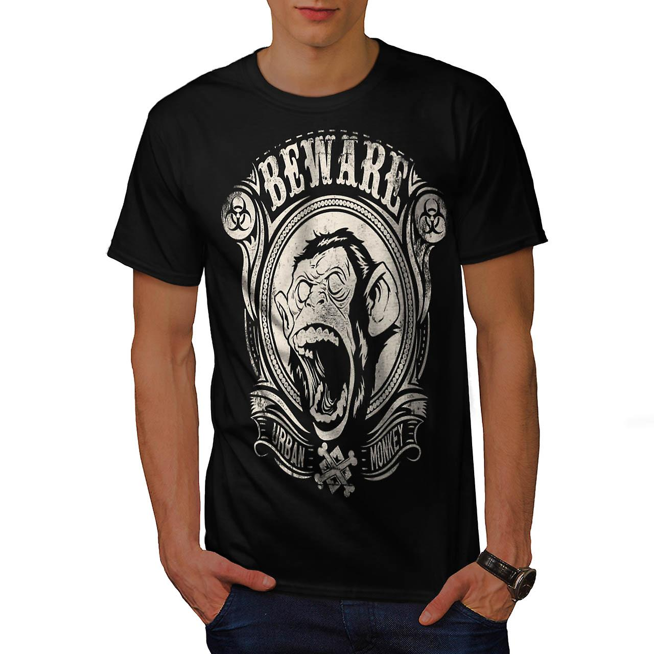 Beware Monkey Vintage Men Black T-shirt | Wellcoda
