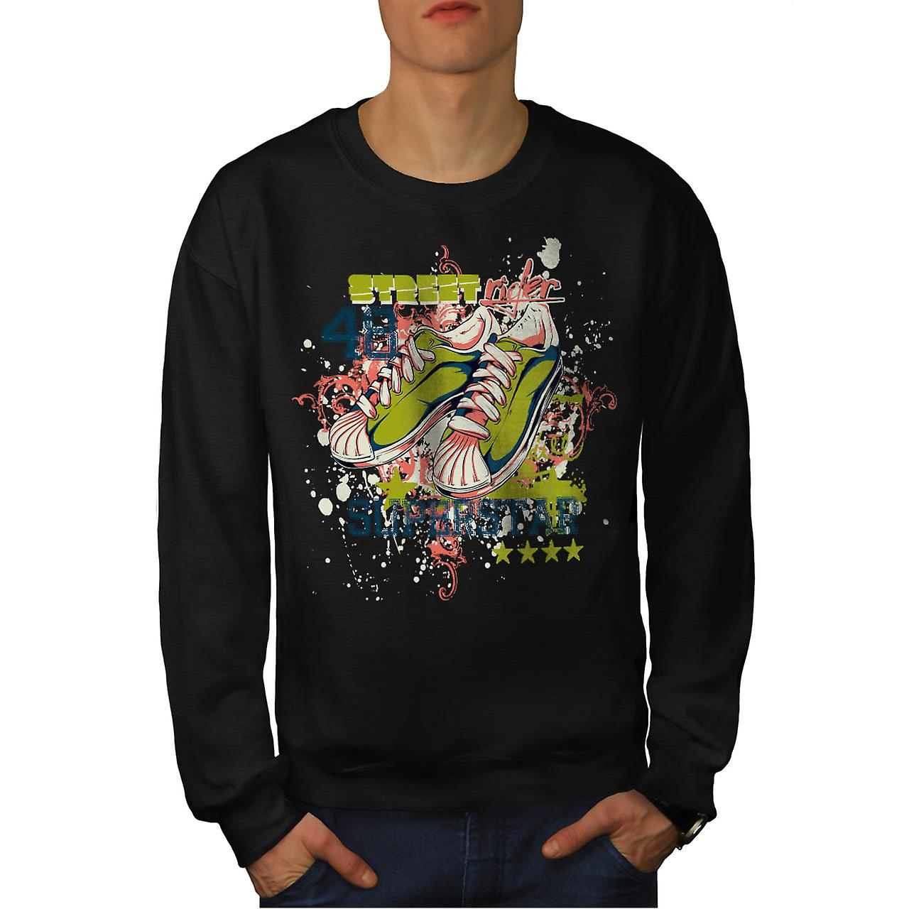 Street Rider Super Star Shoes Men Black Sweatshirt | Wellcoda