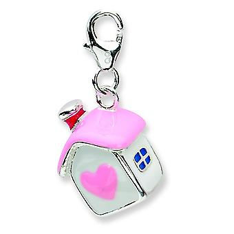 Sterling Silver 3-d Enameled House With Lobster Clasp Charm - 4.6 Grams - Measures 26x13mm