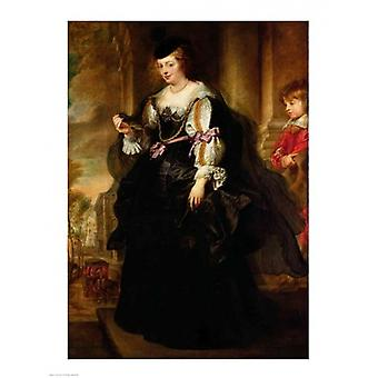 Portrait of Helene Fourment with a Coach Poster Print by Peter Paul Rubens