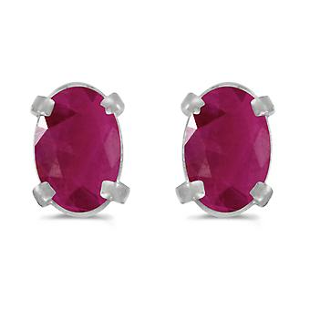 14k White Gold Oval Ruby Earrings