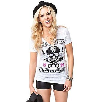Metal Mulisha Maidens Womens Tshirt Tee Top Abandon Skull Crossbones