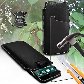 i-Tronixs Sony Xperia E1 Genuine Leather High Quality Pull Tab Flip Phone Case Cover With Tempered Glass Black