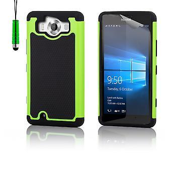 Shock Proof Case + Stylus für Microsoft Lumia 950XL - grün