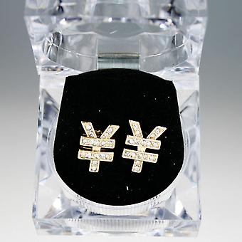 Iced out bling hip hop earrings box - YEN gold