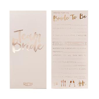 Pink and Rose Gold Advice for the Bride to Be Cards x 10 TEAM BRIDE Hen Party