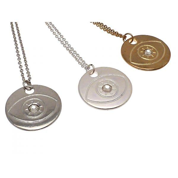 W.A.T Matt Silver Style Evil Eye Disc Pendant Necklace