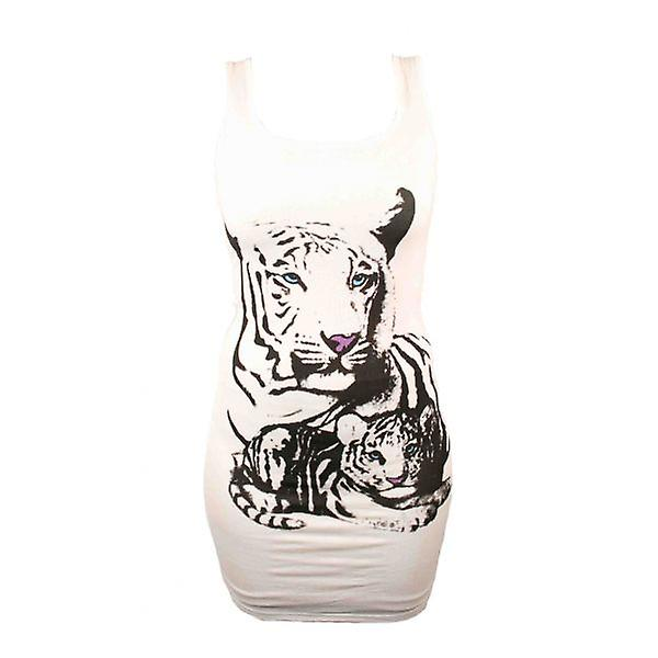 W.A.T Cream Longer Length Tiger Print Vest Top
