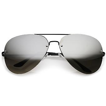 Oversize Metal randlose Pilotenbrille verdoppeln Crossbar verspiegelte Linse 65mm