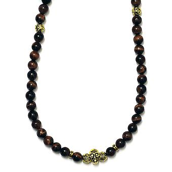 Red Tiger Eye and Gold Plated Necklace with Skull 8mm beads x 36 inches long