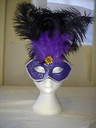 Deluxe Purple Eyemask With Glitter And Feathers (1)