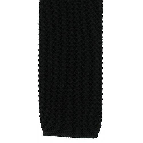 Michelsons of London Skinny Silk Knitted Tie - Black