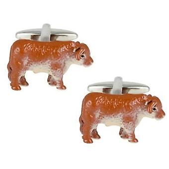 Zennor Bull Cufflinks - Brown