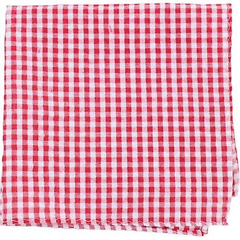 Knightsbridge Neckwear Gingham Checked Cotton Pocket Square - Red/White