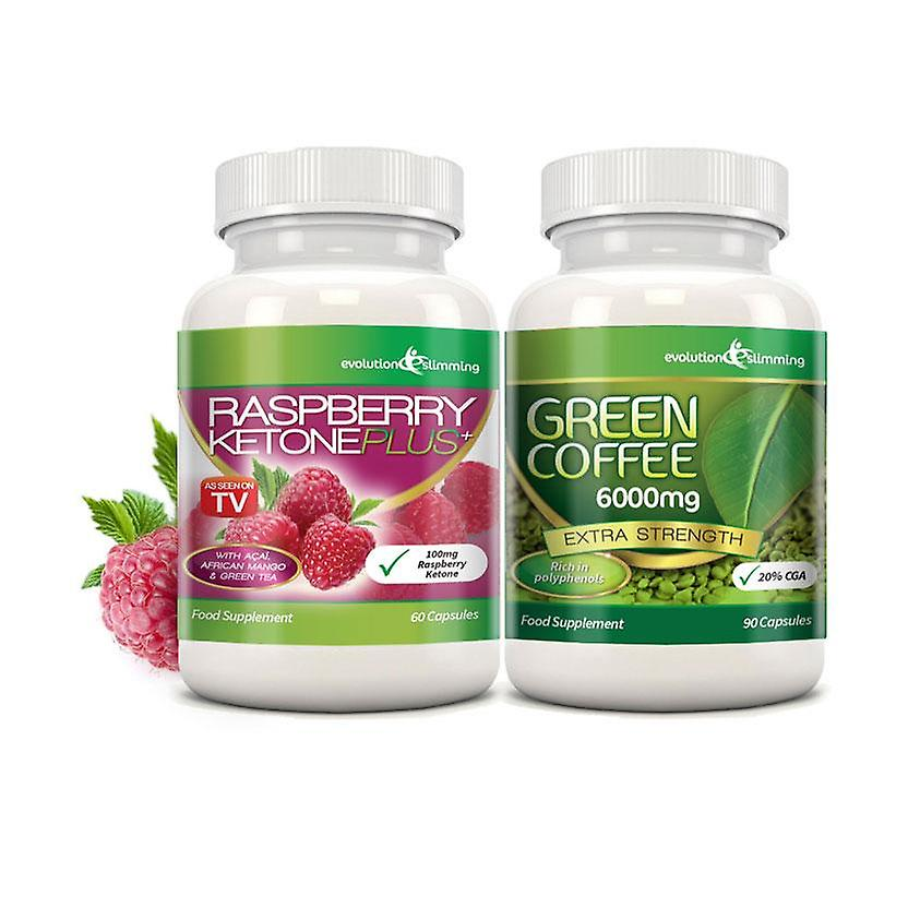 Raspberry Ketone Plus and Green Coffee Fat Burner Combo - 1 Month Supply - Fat Burning Combo - Evolution Slimming