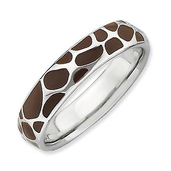Sterling Silver Stackable Expressions Polished Enameled Animal Print Ring - Ring Size: 5 to 10