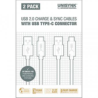 UNISYNK sync cable USB C 2-pack 45 cm Black
