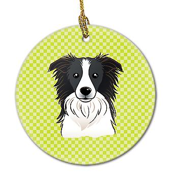 Checkerboard Lime Green Border Collie Ceramic Ornament