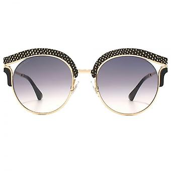 Jimmy Choo Lash Leather Brow Sunglasses In Gold Black