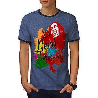 Rasta legende Celebrity mannen Heather blauw / NavyRinger T-shirt | Wellcoda