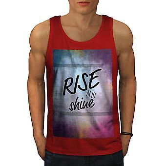 Rise And Shine Slogan Men RedTank Top | Wellcoda