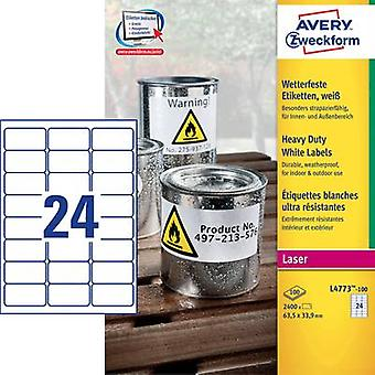 Avery-Zweckform L4773-100 Labels (A4) 63.5 x 33.9 mm Polyester f