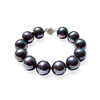 Black cultured pearls and clasp 925 Silver Flower bracelet