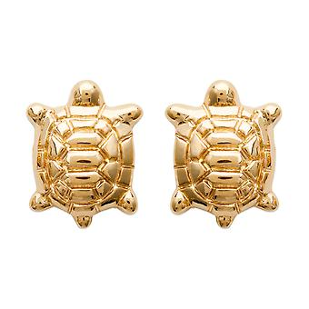 Female turtle yellow gold plated earrings
