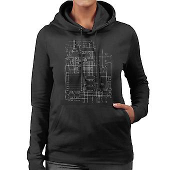 Commodore 64 Computer Schematic Women's Hooded Sweatshirt