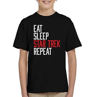 Eat Sleep Star Trek Repeat Kid's T-Shirt